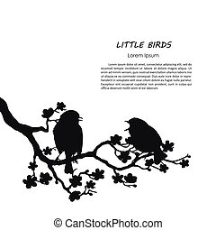 Silhouette of two birds sitting on a flowering branch