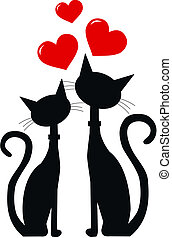 two black cats in love - silhouette of two black cats in...