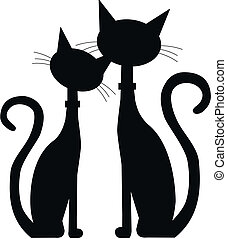 two black cats - silhouette of two black cats