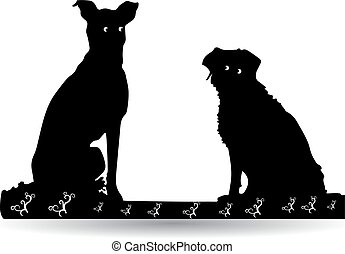 Silhouette of two black dogs sitting, Cartoon on a white background.