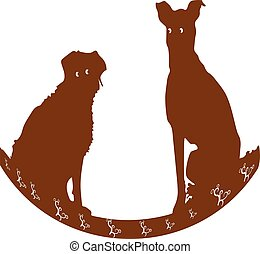 Silhouette of two brown dogs sitting-swing, Cartoon on white background.