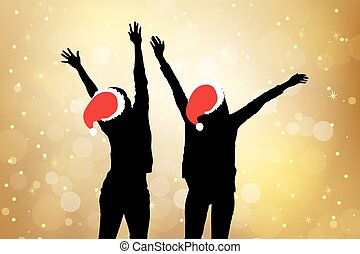 silhouette of two christmas girl friends cheer