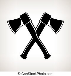 Silhouette of Two Crossed  Axes