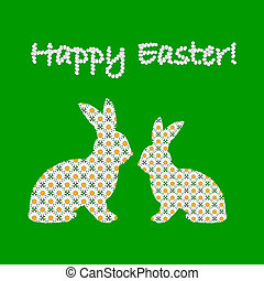Silhouette of two Easter bunny rabbits decorated with chamomile flowers pattern. Design Easter colorful card. Vector-art illustration