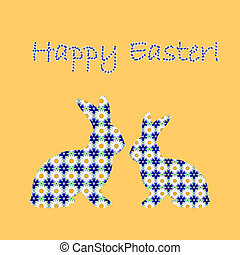Silhouette of two Easter bunny rabbits decorated with cornflower and chamomile flowers pattern. Design Easter colorful card. Vector-art illustration