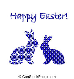 Silhouette of two Easter bunny rabbits decorated with cornflower floral pattern. Design Easter colorful card. Vector-art illustration on a white background