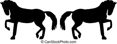 Silhouette of two horses