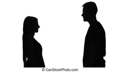 Silhouette of two lovers. Silhouette. White