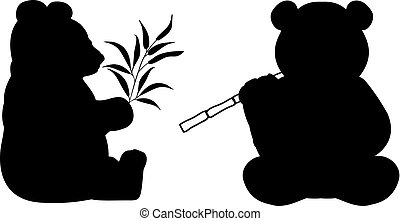 Silhouette of two pandas. Bamboo bear. Rare protected animal