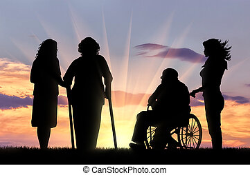 Silhouette of two people with disabilities and peepers