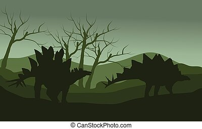 Silhouette of two stegosaurus