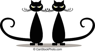 Silhouette of  two stylish black  c