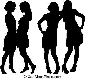silhouette of two young slender women on the white...