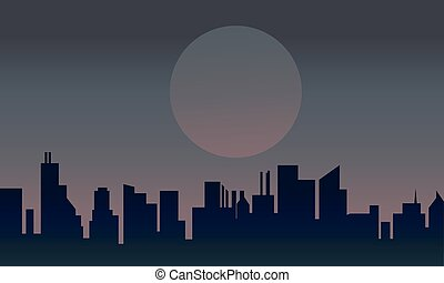 Silhouette of urban at night
