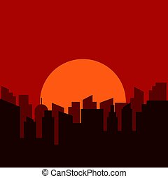 Silhouette of urban scenery in the morning