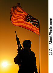 Silhouette of US soldier under national flag