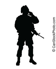 US soldier - Silhouette of US soldier with rifle (vector...