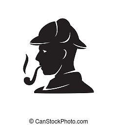 silhouette of vintage man in hat with tobacco pipe on a white isolated background. Vector image
