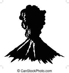volcano - silhouette of volcano
