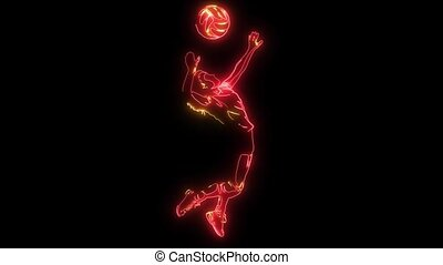Silhouette of volleyball player. video animation