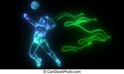 Silhouette of volleyball player with flames.