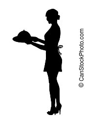 Silhouette of waitress carrying a tray with food