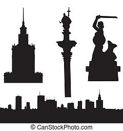 Silhouette of Warsaw in Poland- panorama, Palace of Culture and Since, Sigismund's Column and Warsaw Mermaid.