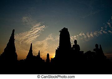 Silhouette of wat chaiwattanaram at Sunset