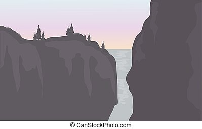 Silhouette of waterfall with gray backgrounds