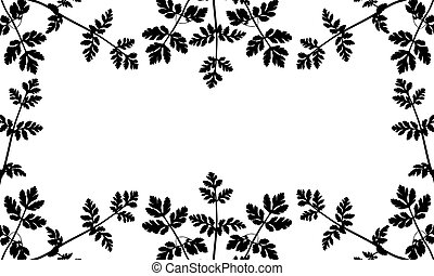 Silhouette of wild plants (weeds), frame. Used clipping mask. Vector illustration.