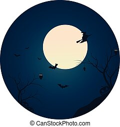 Silhouette of witch and bat flying