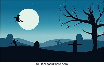 Silhouette of witch flying in tomb vector Halloween