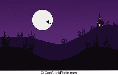 Silhouette of witch Halloween