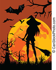 Silhouette of witch - Halloween