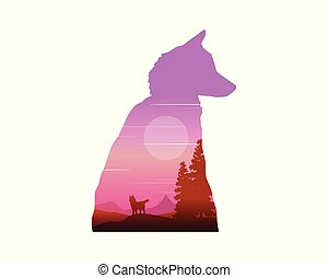 Silhouette of wolf at sunrise landscape