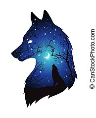 Double exposure silhouette of wolf in the night forest, blue sky with crescent moon and stars isolated. Sticker, print or tattoo design vector illustration. Pagan totem, wiccan familiar spirit art.