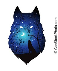 Silhouette of wolf double exposure - Double exposure...