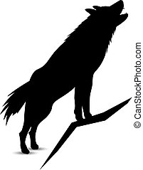 Silhouette of wolf.