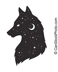 Silhouette of wolf with moon and stars - Silhouette of wolf ...