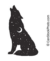 Silhouette of wolf with moon and stars