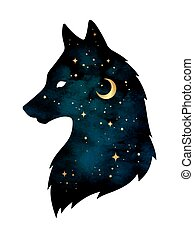 Silhouette of wolf with moon and stars - Silhouette of wolf...