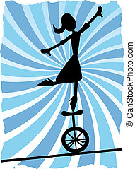 Silhouette of Woman balancing on un - Abstract metaphor of...
