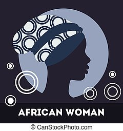 Silhouette of woman. Beautiful black woman
