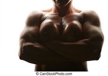 Silhouette of woman bodybuilder topless