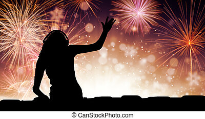 Silhouette of woman dj playing music, firework on backround...