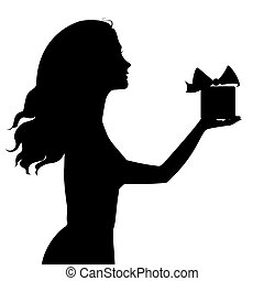 Silhouette of woman holding a gift box