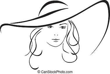 Silhouette of woman in a hat - Silhouette of beautiful woman...