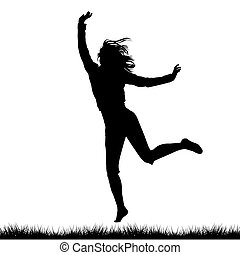 Silhouette of woman jumping outdoor