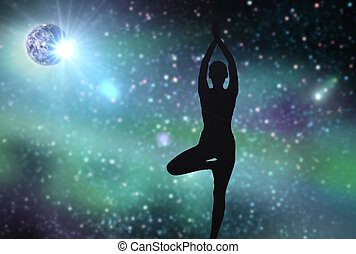 silhouette of woman making yoga over space