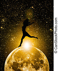 silhouette of woman on the moon